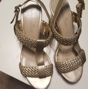 Gold Open Toe Wedge Sandals